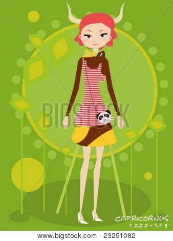 Vector illustration of a girl and Capricornus