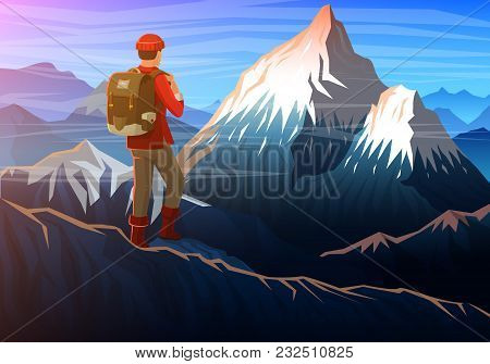 Mountain Everest With Tourist, Evening Panoramic View Of Peaks, Landscape Early In A Daylight. Trave