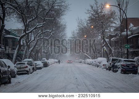 Montreal, Canada - December 29, 2016: Typical North American Residential  Street Covered In Snow In