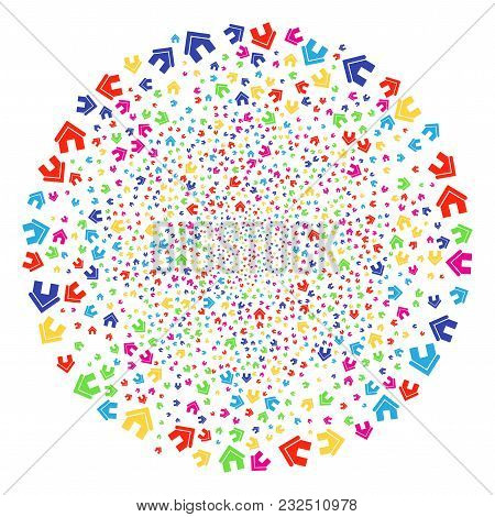 Multicolored Home Explosion Round Cluster. Vector Spheric Cluster Burst Designed From Scattered Home