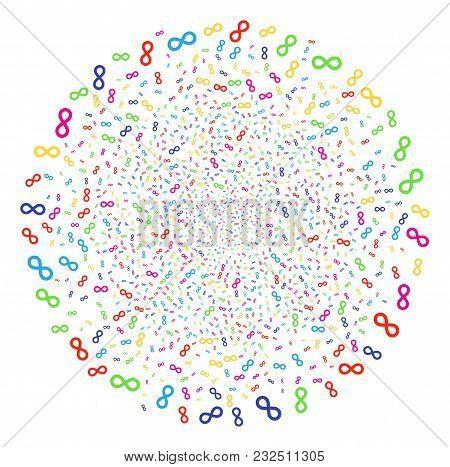 Psychedelic Infinity Burst Spheric Cluster. Vector Globula Fireworks Designed By Randomized Infinity