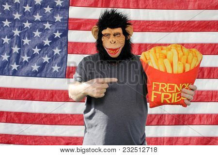 A man wears a Monkey or Chimpanzee mask while holding funny pillow props in a Photo Booth against an American Flag. Photo Booths are popular at Weddings and all parties and events.