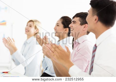 Business Man Hands Applauding At Meeting Room