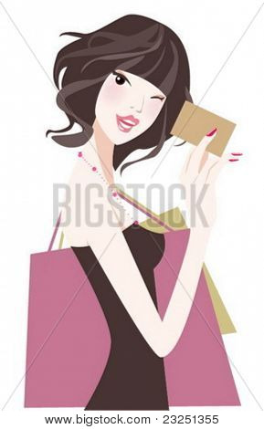 Fashion girl with card to shopping