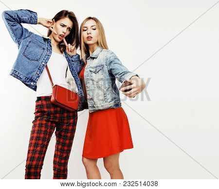 Best Friends Teenage Girls Together Having Fun, Posing Emotional On White Background, Besties Happy