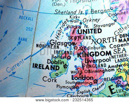 United Kingdom And Ireland Isolated Focus Macro Shot On Globe Map For Travel Blogs, Social Media, We