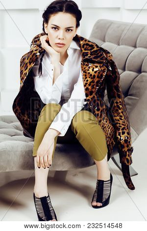 Pretty Stylish Woman In Fashion Dress With Leopard Print In Luxury Rich Room Interior, Lifestyle Peo