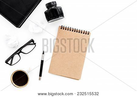 Retro And Modern Writer Desktop With Cup Of Coffee And Ink On White Table Background Top View Mock U