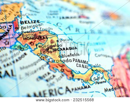 Nicaragua Isolated Focus Macro Shot On Globe Map For Travel Blogs, Social Media, Website Banners And