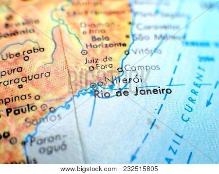 Rio De Janeiro Brazil Isolated Focus Macro Shot On Globe Map For Travel Blogs, Social Media, Website