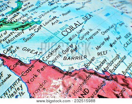 Great Barrier Reef Coral Sea Australia Isolated Focus Macro Shot On Globe Map For Travel Blogs, Soci