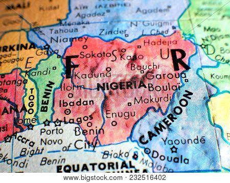 Nigeria Africa Isolated Focus Macro Shot On Globe Map For Travel Blogs, Social Media, Website Banner