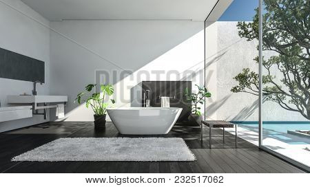 Modern spacious luxury bathroom in a shaft of sunlight streaming in through a glass wall onto a patio with tree. 3d rendering