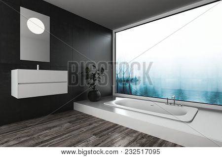 Modern luxury bathroom with built in tub and wall mounted vanity in front of a large view window overlooking a misty landscape. 3d rendering