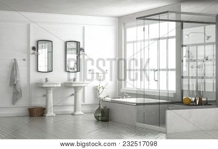 Fresh white spacious modern luxury bathroom interior with double hand basins, mirrors glass shower cubicle and bathtub under a bright window. 3d rendering