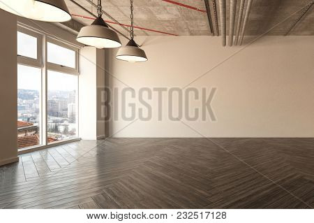 Spacious empty room with herringbone parquet floor and exposed ceiling pipes, hanging light fixtures and large view windows. 3d rendering