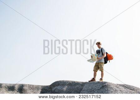 Caucasian man looking map