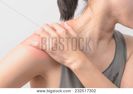 Closeup Women Neck And Shoulder Pain/injury With Red Highlights On Pain Area With White Backgrounds,