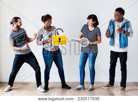 Group of people with protection concept