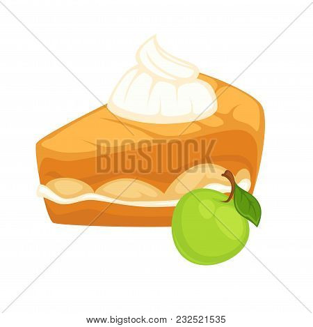 Cake Slice With Thick Apple Jam And Tender Whipped Cream On Top. Delicious Sweet Dessert Covered Wit