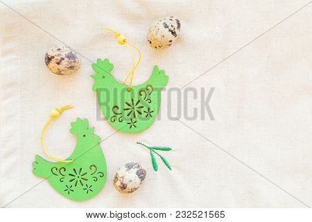 Happy Easter Card.still Life With Quail Eggs And Decorative Wooden Chicken On Linen Tablecloths.spri
