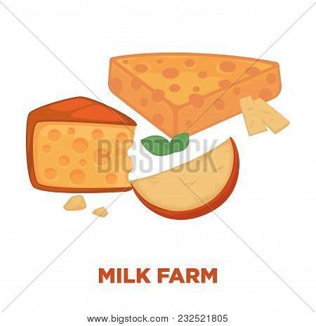 Milk Farm Promotional Poster With Delicious Cheese Segments. Natural Fresh Dairy Products With Small