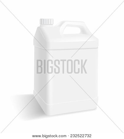 White Plastic Gallon On A White Background...for Use Of Advertising Package Products, Milk, Oil, Wat