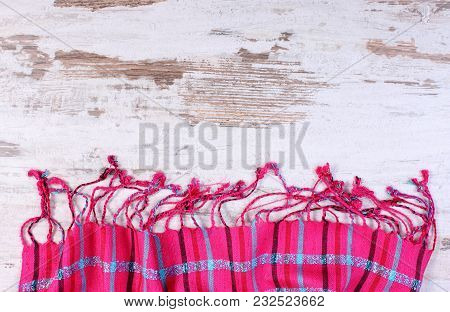 Frame Of Colorful Shawl With Copy Space For Text, Womanly Accessories, Warm Clothing For Autumn Or W