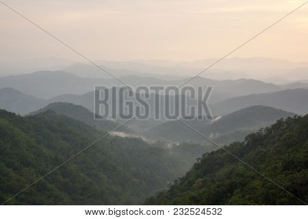 The Mountains In Chiangmai, Thailand, That Lined Layer By Layer On The Foggy Day (soft Focus)