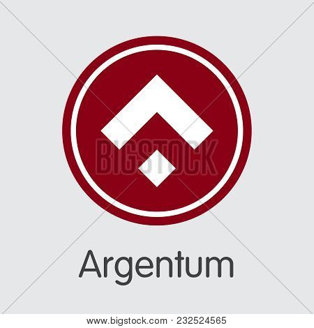 Argentum - Cryptographic Currency Trading Sign. Vector Trading Sign Of Digital Currency Icon On Grey