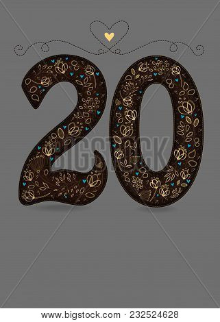 Brown Floral Number Twenty. Yellow Flowers And Plants With Drawing Effect And Small Blue Hearts. Gra