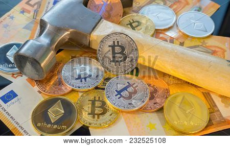 Digging Bitcoin mining or mine for bitcoin, compared to the traditional idea of physical mining with a pickaxe