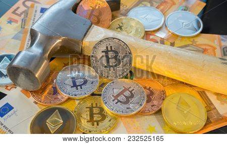 Dig Bitcoin mining or mine for bitcoin, compared to the traditional idea of physical mining with a pickaxe