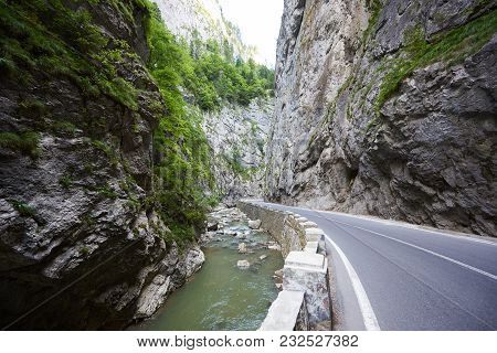 Horziontal Shot Of Bicaz Canyon Road In Romania Copyspace Europe Travelling Trip Voyage Journey Tour
