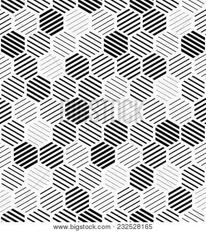 Abstract Geometric Pattern By Lines, Hexagons. A Seamless Vector Background. Black And White Texture