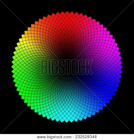 Color Wheel Or Circle With Graded Coloristic Shade Variations Round Table. Pickable Color Plates Rea
