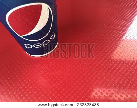 Phuket, Thailand - January 26, 2018: Pepsi Paper Cup Serving In Kfc Fast Food Restaurant, Phuket, Th