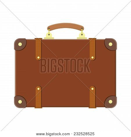 Vintage Old Travel Suitcase. Leather Retro Bag. Travel Baggage And Luggage. Vector Illustration In F