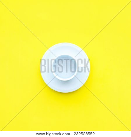 White Empty Coffee Cup Kitchen Dish Object Top View Flat Lay Yellow Background