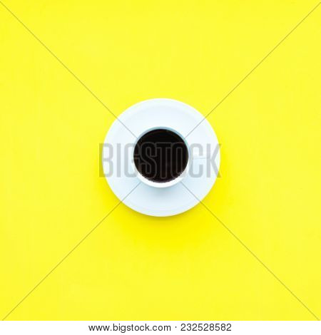 White Cup Fresh Coffee Unhealthy Food Top View Yellow Background