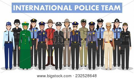International Police Team. Detailed Illustration Of Police Different Countries In Flat Style On Whit