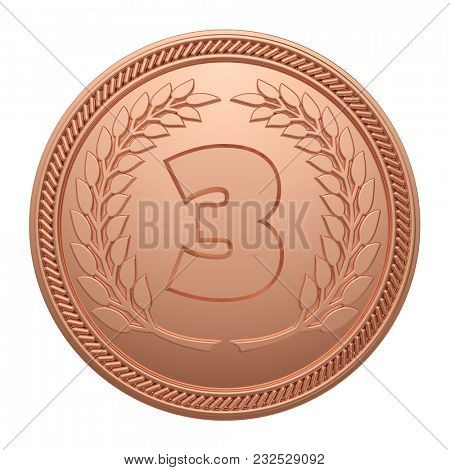 Bronze Medal Isolated on White Background. 3rd Place Medal. 3D Illustration.