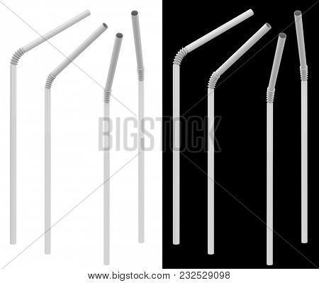 White Plastic Drinking Straw in Different Angles Isolated on White and Black Background. 3D Illustration.