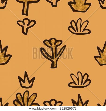 Abstract Golden Blossoms. Seamless Pattern Background For Bedspreads. Flowers Vector Illustration.
