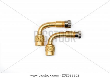 Pair Of 90 Degree Brass Filling Air Pipe For All Vehicle Isolated On White Background.