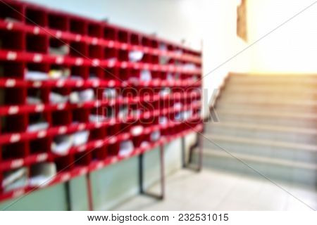 Background Blur At The Mailbox. Inside The Apartment ,condo Or Department Store.