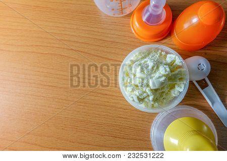 Prepare Milk For Baby Concept. Milk Powder For Children.