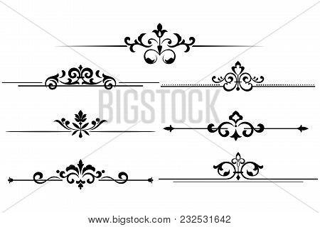 Vintage Set Of Decorative Elements. Black  Separators On A White Background.