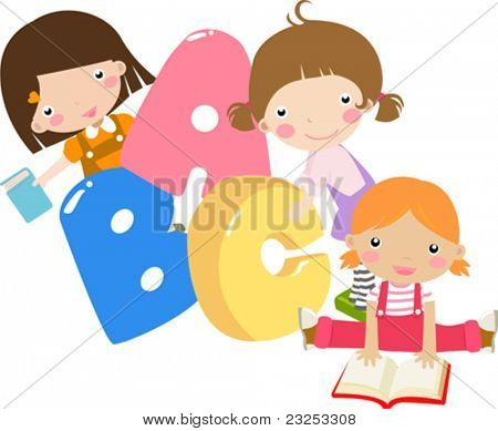 Three cartoon girls holding ABC letters