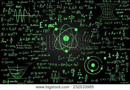 Blackboard Inscribed With Scientific Formulas And Calculations In Physics And Mathematics. Can Illus